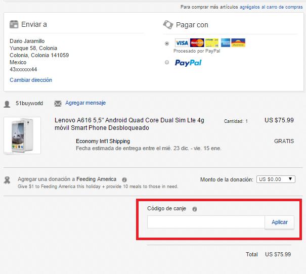 Descuento Código de Canje Ebay