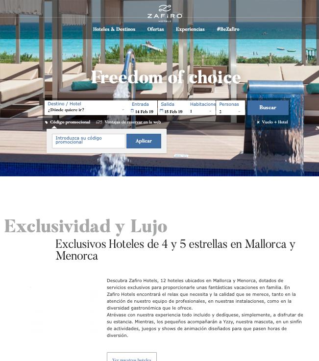 Descuento Códigos Promocionales de Zafiro Hoteles